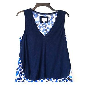 Deletta by Anthropologie layered top blue/black